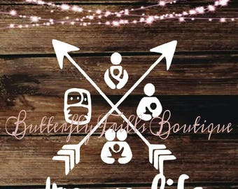 Mom Life Decal; Breastfeeding; Baby Wearing; Cloth Diapering