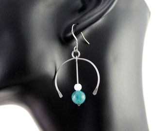 "Creator France loops earrings d 'ears in steel Chirurgical ""Fedora"" in Apatite jewelry is hand"