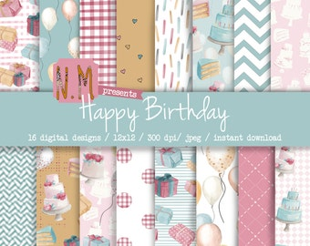 Birthday digital paper pack happy birthday digital pattern hand painted watercolor birthday party papers balloons cake candles presents pack