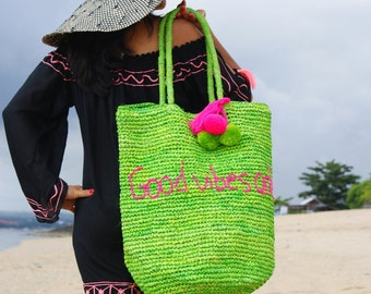 Raffia Pompom bag/Beach tote bag/Tassel pompom beach bag/Summer raffia bag * WINDA RAFFIA BAG
