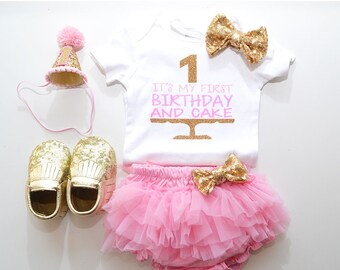 Pink Gold first birthday outfit, set bodysuit, ruffle bloomer, party hat, headband, . diaper cover set. it's my first birthday and cake.