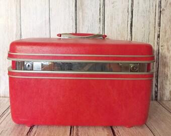 Vintage Pink Train Case Makeup Case Samsonite Hot Pink