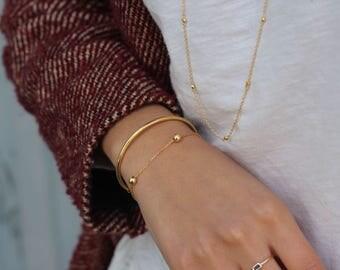 gold balls bracelet, gold bracelet, balls bracelet, Gold plated silver bracelet, dainty bracelet, Gold Bracelet