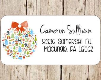 Ornamental Christmas ball address labels,address labels,address stickers, return address labels, mailing labels, mailing stickers,christmas