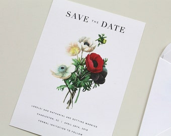 Floral Save the Date, Botanical Save the Date, Save the Date Card, Poppies Save the Date, Poppy Save the Date, Poppy Wedding