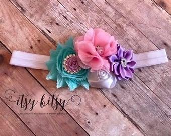 Baby Headband, Spring Headband, Shabby Chic Headband, Easter Headband, Flower Headband, Shabby Flower Headband, Easter Outfit, Easter Gift,