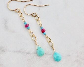Turquoise & Ruby Earrings