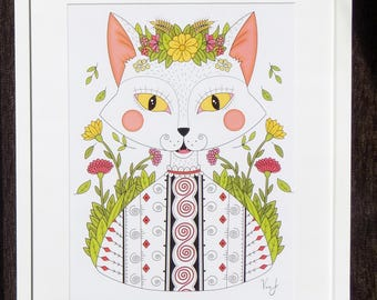 Romanian Traditional Cat, Limited edition print