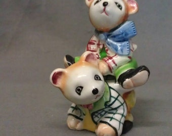 P Y Tan and White Stackable Bears with Pink Ears and Mouth and Comorful Clothes Salt and Pepper Shaker Set