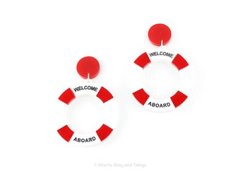 Life Buoy Earrings - red and white acrylic earrings with stud backs