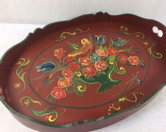 Red Hand Painted Folk Art Serving Tray Wooden Serving Tray Bird And Flowers Serving Tray