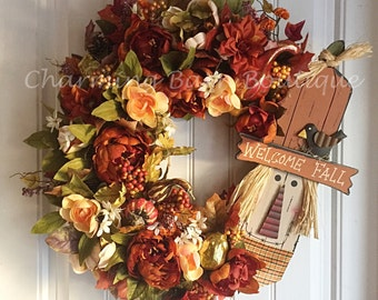 Fall Wreath, Fall Grapevine Wreath, Scarecrow Wreath, Floral Grapevine Wreath, Floral Wreath, Thanksgiving Wreath, Autumn Wreath, Fall Decor