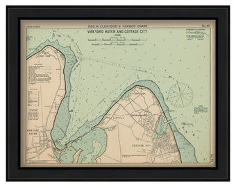 "36"" X 27"" Vineyard Haven & Cottage City Martha's Vineyard - Nautical Chart by George W. Eldridge 1901"