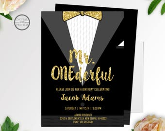 Mr. Onederful Birthday Invitation | Mr. One-derful Birthday Invitation | 1st Birthday Invitation | Bowtie Birthday Invitation First Birthday
