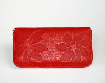 Womens Wallet, Leather Wallet, Red Wallet,  Red Purse