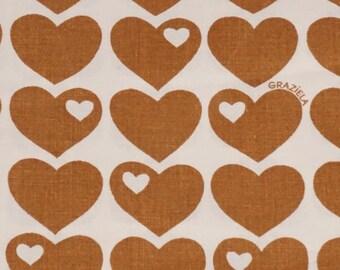 Vintage fabric fabric 70s 70s Graziela heart Brown BW