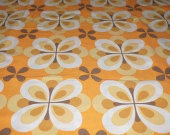Vintage fabric orange fabric 70s 70s flower power funky flowers cotton 50 x 65 cm / 19 x 25 '