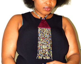 nice long necklace craft African plastic bead and leather