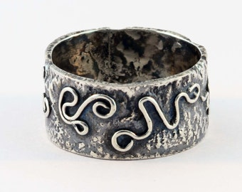 Reticulated Silver Band Ring - Size 8 1/2