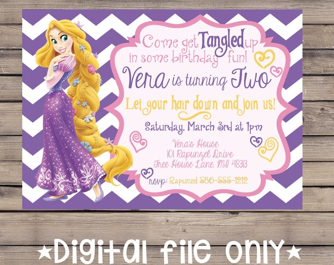 Tangled Birthday Invitation / Rapunzel Birthday Invitation / Tangled Rapunzel Birthday Invitation / Rapunzel Birthday Invite / Digital