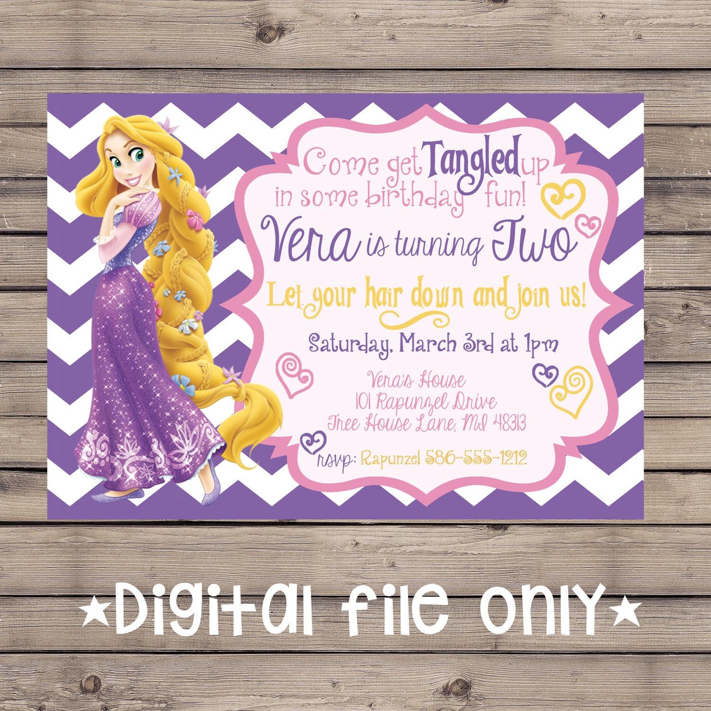 Tangled Birthday Invitation Rapunzel Birthday Invitation