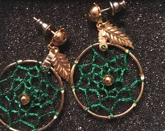 Emerald and Gold Handmade Dreamcatcher Earrings