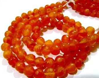 "Natural Faceted Carnelian Gemstone Beads , Ball Shape Genuine Carnelian Beads , 6-7mm Size Beads , Length 10"" long , Jewelry Beads-Wholesale"