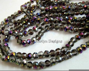 AAA Quality Mystic Peacock Coated Hydro Quartz 6mm Size Beads , Titanium Coated Pyrite Rondelle Faceted Beads , approx. 100 Beads per Strand