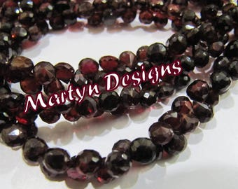 Exclusive Quality Natural Garnet 6mm Size Beads , Faceted Onion Shape Mozambique Garnet Beads , Length 8 inches approx. , Gemstone Beads
