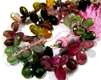 Beautiful Natural Multi Tourmaline Faceted Pear Shape Beads , Briolettes Side Drilled 6x8mm to 6x9mm size Multi Tourmaline , Length 8 inches