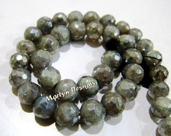 Natural Silver Coated Labradorite Gemstone Beads , Faceted Ball Shape Mystic Coated Labradorite Beads, 6-7mm Size Beads, Length 10 inches ,