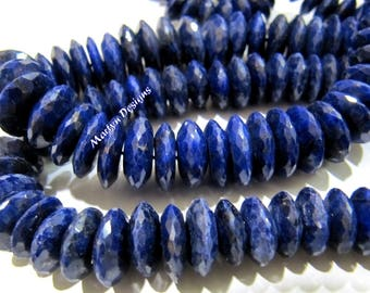 Best Quality Genuine Lapis Lazuli Faceted Gemstone Beads , German Cut Rondelle Shape Beads 9-12 mm , Strand 8 inches long , Graduated Beads.