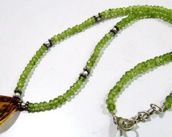 AAA Quality Natural Peridot and Briolette Citrine Beads Necklace , Silver Oxidize Finding , Handmade Beaded Necklace 18 inches long.