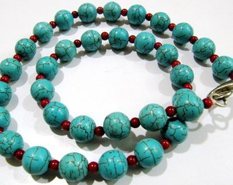 AAA Quality Beautiful Turquoise and Coral Beads Necklace , Silver Oxidize Finding , Handmade Beaded Necklace 18 inch long- Gemstone Jewelry.