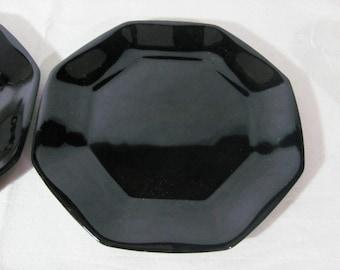 Vintage (c. late 1980s) Arcoroc | Arcopal | Luminarc Octime Black salad | dessert plate. Octagonal shape, all black glass.