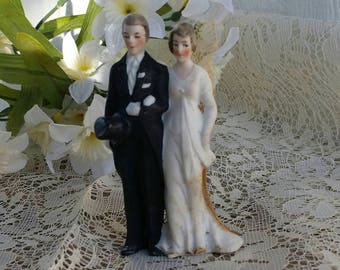 1930s Bisque Bride And Groom Cake Topper Made in Germany Vintage Cake Topper Vintage Wedding 30s Wedding Handpainted Cake Topper
