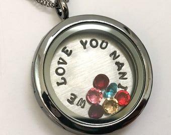 We Love You Nani - Gunmetal Rhinestone Floating Charm Locket - Memory Locket - Custom Hand Stamped Gift