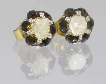 Victorian Inspired Rose Cut Diamond Stud Earrings