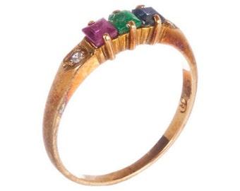 14K Gold & Multi-Gemstone Ruby Emerald Sapphire Diamond Ring