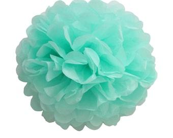 Light Blue Pompom, Light Blue Party Decor, Light Blue Paper Pompom, Tiffany Party Decor, Blue Baby Shower Decor, Wedding Deco Tissue Pom Pom