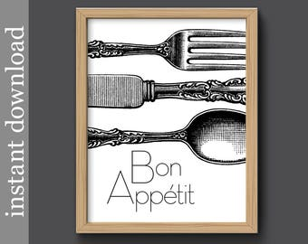 Bon Appetit, Instant Download, kitchen printable, black and white, dining room art, silverware print, diy printable art, affordable art