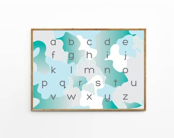 ABC poster A2 B2 Alphabet poster - Letter Sound - lower case letters - writing - learning poster - alphabet identification - Camo