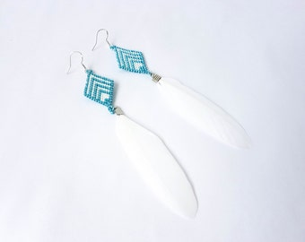 Summer beads miyuki and feather earrings