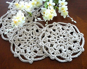 Crochet Coasters Placemat Table linens Kitchen Decor Women Gift Crochet Doilies Tablecloth Crochet Doily Round Cotton Table Home Decor