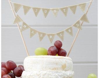 Just Married Cake Bunting - Rustic Wedding | Country Wedding | Barn Wedding | Alternative Cake Decor | Boho Wedding | Cake Topper | Rustic