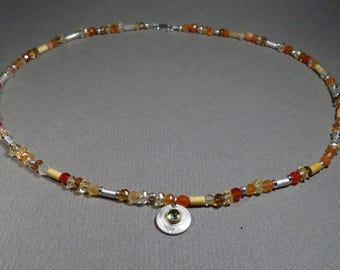 bright summer necklace, citrine, Carnelian, Peridot