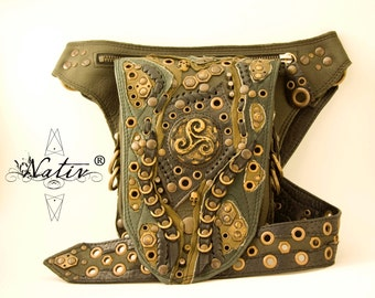 Leather  Waist Belt Utility Pocket in a Creative Jungle Celtic Style
