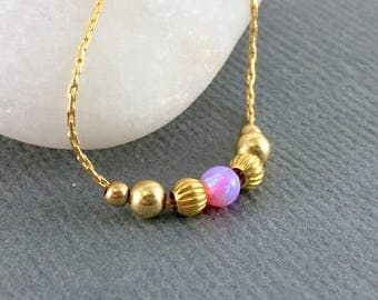 Gold Opal necklace, October birthstone necklace, Minimalist gold necklace, Opal bead necklace, Ball opal necklace, Pink Opal beads necklace