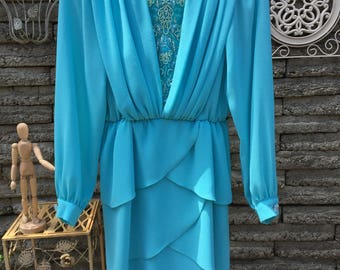 Vintage 1980's Turquoise Blue Cocktail Dress *  Size Small to Extra Small * Ursula