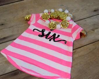 Hot Pink Six Birthday Shirt - Hot Pink Six Shirt - Six Birthday Shirt - Birthday Shirt 6 - Birthday Shirt Six - Six Year Old Girl - 6th Tee